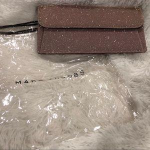 Marc Jacobs pink sparkle reversible clutch
